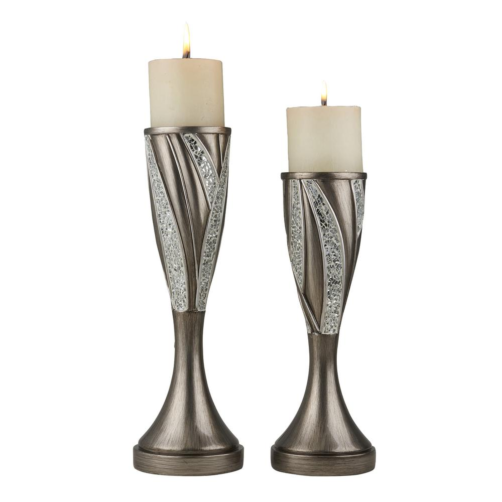 Ok Lighting Silver Kairavi Polyresin Candleholders Set Of 2