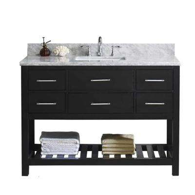 Caroline Estate 49 in. W Bath Vanity in Espresso with Marble Vanity Top in White with Square Basin and Faucet