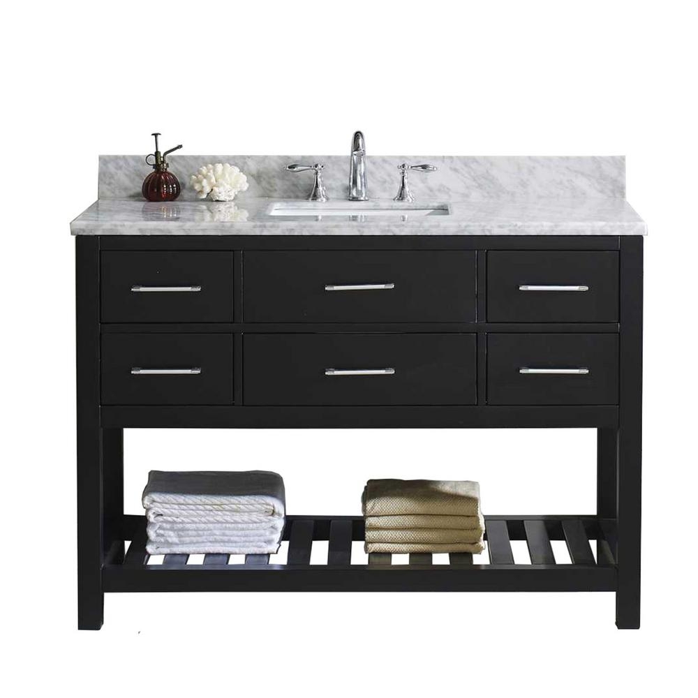 Caroline Estate 49 in. W Bath Vanity in Espresso with Marble