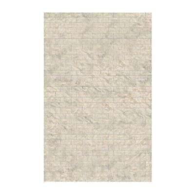 Subway Tile 62 in. x 96 in. 1-Piece Easy Up Adhesive Shower Panel in Mountain Haze