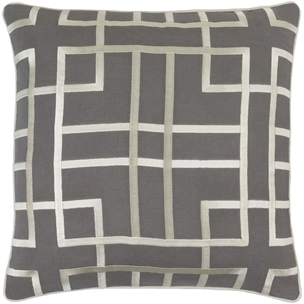 Stenhouse Charcoal Geometric Polyester 20 in. x 20 in. Throw Pillow