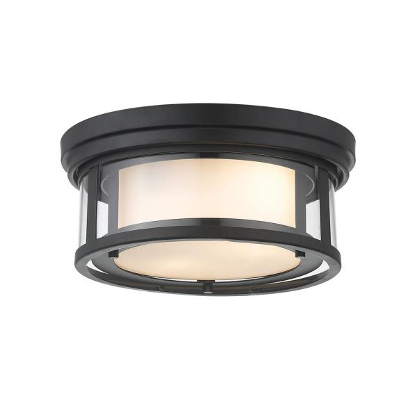 2-Light Matte Black Flush Mount with Inner White and Outer Clear Glass