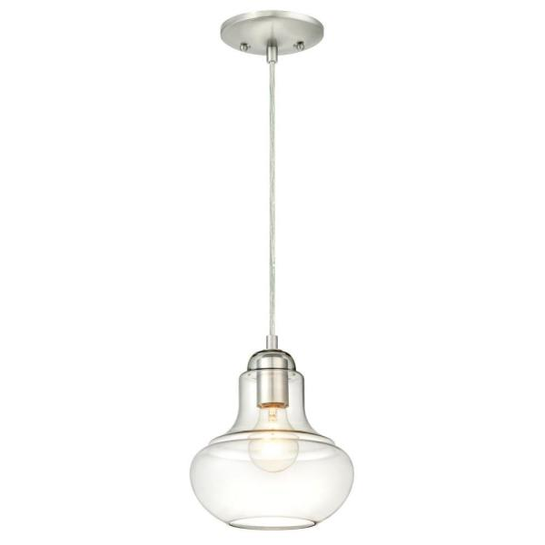 1-Light Brushed Nickel Mini Pendant with Clear Glass Shade