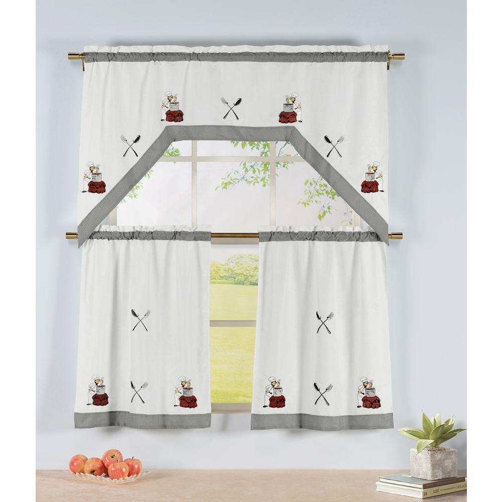 3 Piece Kitchen Window Curtain Set With Flower Embroidered: Window Elements Semi-Opaque Savory Chef Embroidered 3