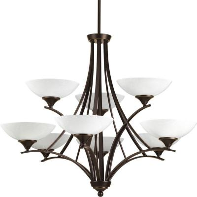 Prosper Collection 9-Light Antique Bronze Chandelier with Polished Seeded Glass