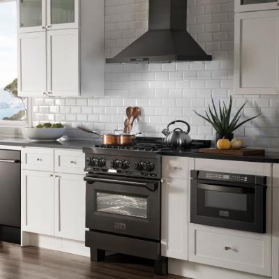 ZLINE 30 in. Black Stainless 4.0 cu.ft. 4 Gas Burner/Electric Oven Range (RAB-30)
