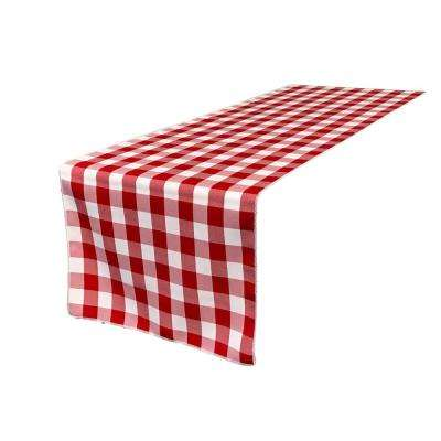 14 in. x 108 in. White and Red Polyester Gingham Checkered Table Runner