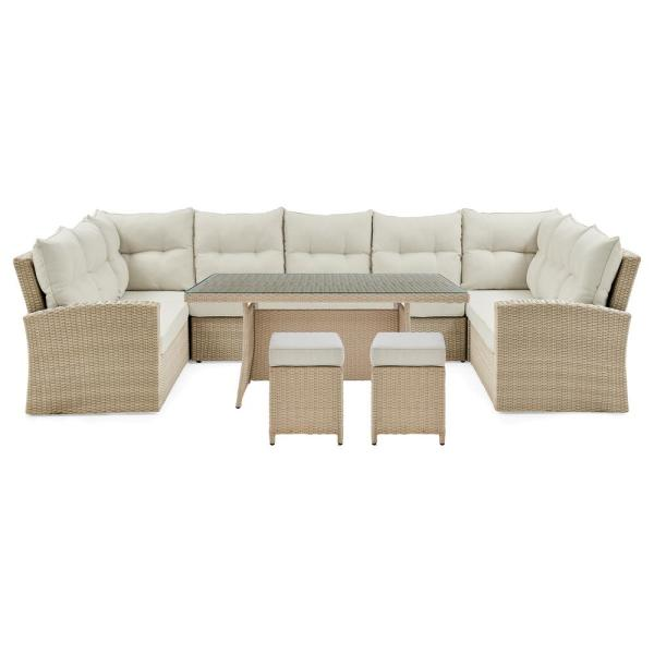 Canaan Cream 4-Piece Wicker Outdoor Sectional Set with All Weather Cream Cushions