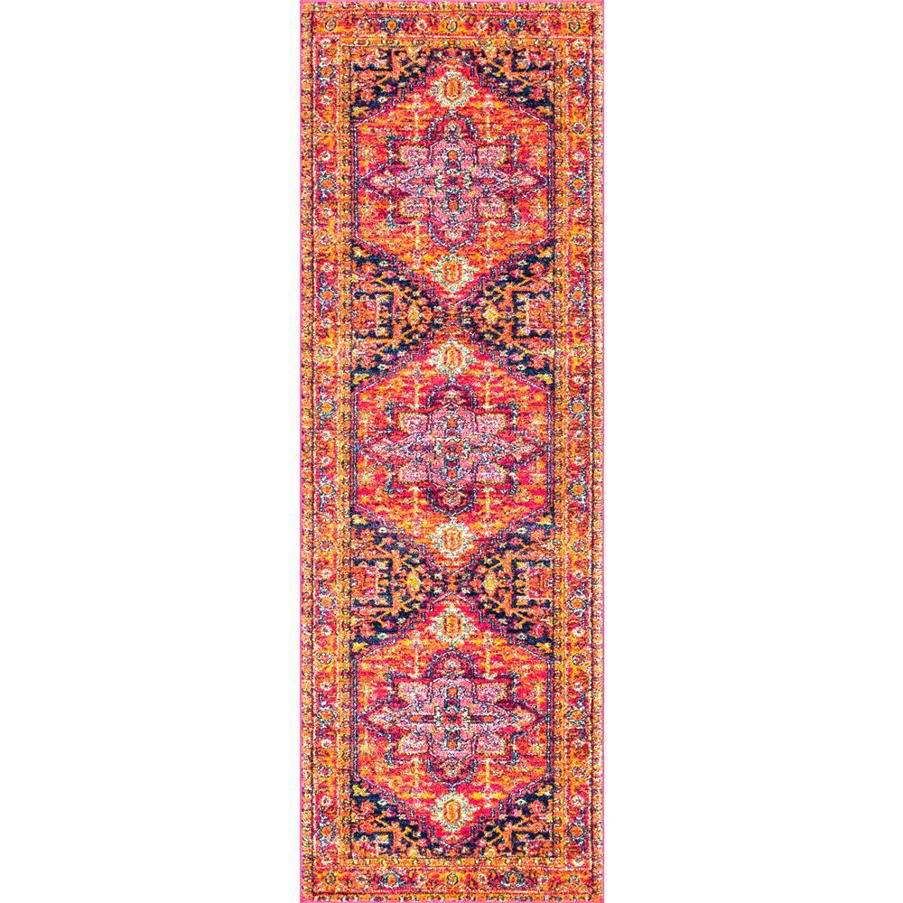 Fancy Persian Vonda Pink 3 ft. x 12 ft. Runner Rug