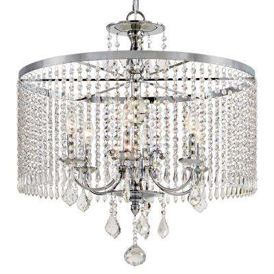 6 Light Polished Chrome Chandelier With K9 Crystal Dangles