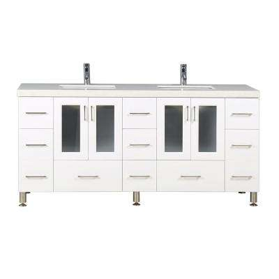 Westfiled 72 in. W x 22 in. D Double Vanity in White with Quartz Vanity Top in White with White Basin