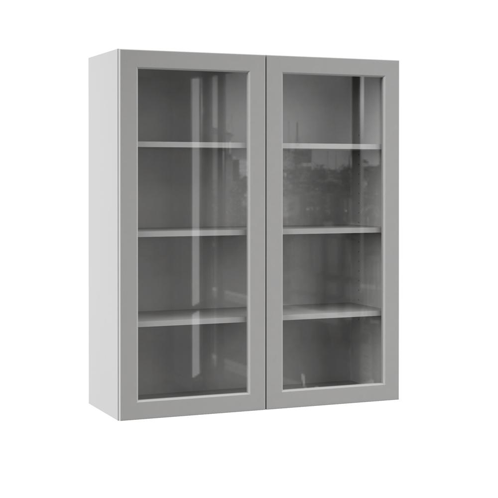 Hampton Bay Designer Series Melvern Assembled 36x42x12 In Wall Kitchen Cabinet With Glass Doors In Heron Gray