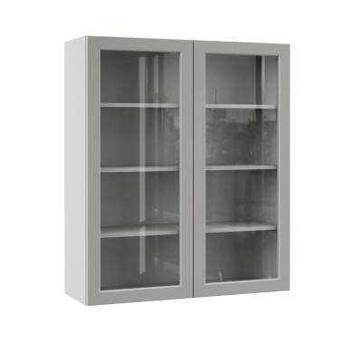 Melvern Assembled 36x42x12 in. Wall Kitchen Cabinet with Glass Doors in Heron Gray