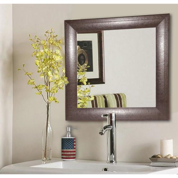 25.75 in. x 25.75 in. Espresso Leather Square Vanity Wall Mirror