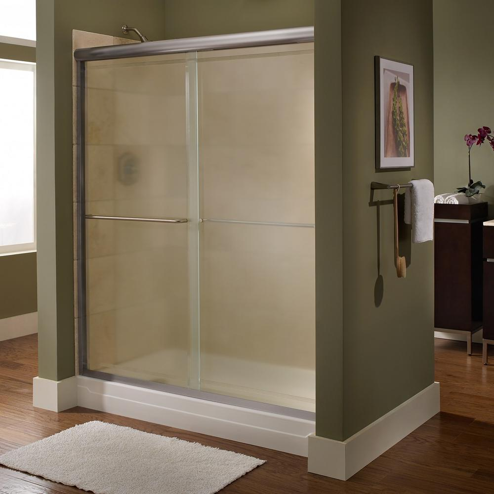 Euro 48 in. x 65.5 in. Semi-Frameless Sliding Shower Door in