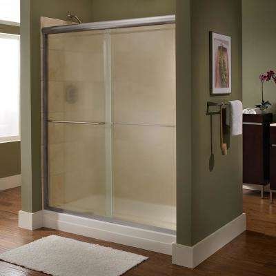 Euro 48 in. x 65.5 in. Semi-Frameless Sliding Shower Door in Silver with Clear Glass