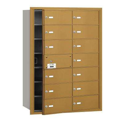 Gold USPS Access Front Loading 4B Plus Horizontal Mailbox with 14B Doors (13 Usable)