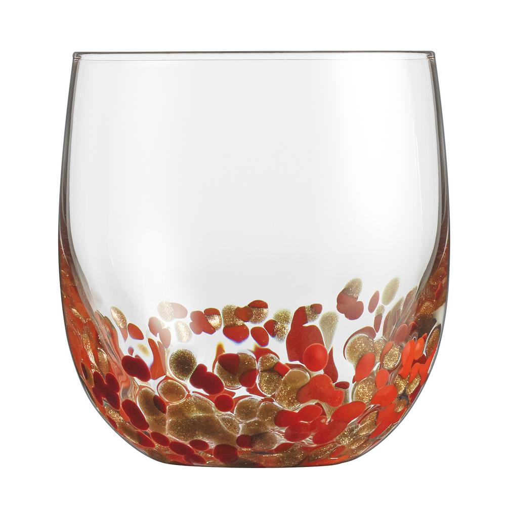 Cuisinart 14.5 Oz. Double Old Fashion Glasses with Red and Gold Accents (Set of 4) Set of 4, 14.5 Oz. Double Old Fashion Glasses. Beautifully Accented with Red and Gold. Made from Lead-Free Crystal.