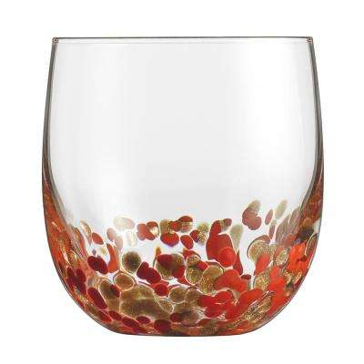 14.5 Oz. Double Old Fashion Glasses with Red and Gold Accents (Set of 4)