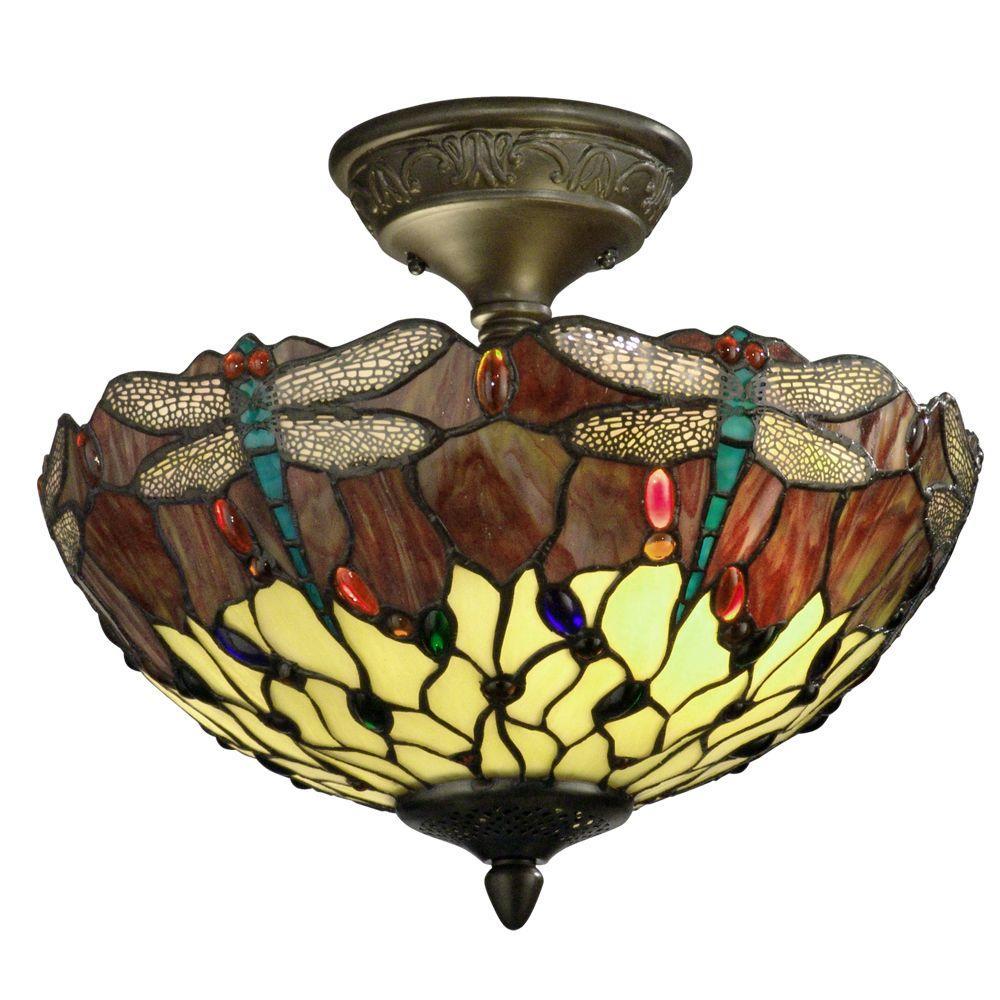 Dragonfly 2-Light Antique Bronze Semi-Flushmount Light