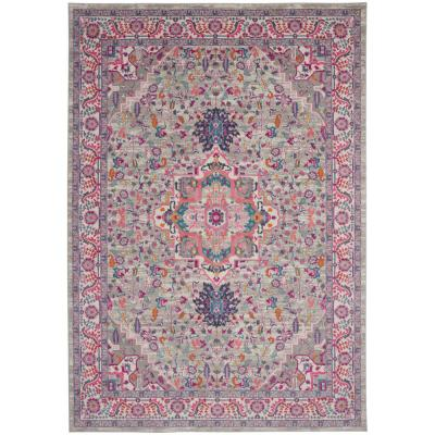 Nourison Passion Light Grey Pink 5 Ft X 7 Ft Persian Modern Area Rug 486745 The Home Depot