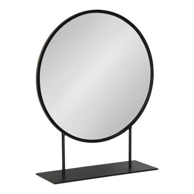 Medium Round Black Contemporary Mirror (22 in. H x 18 in. W)
