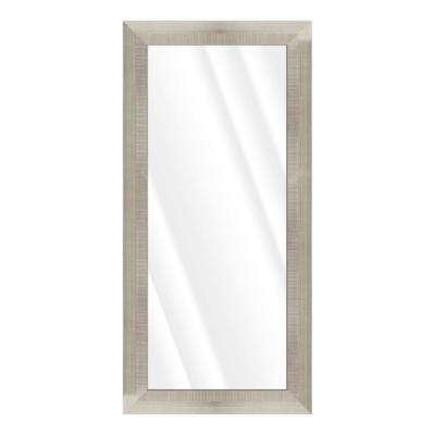 Oversized Rectangle Silver & Ivory Beveled Glass Contemporary Mirror (65.5 in. H x 31.5 in. W)