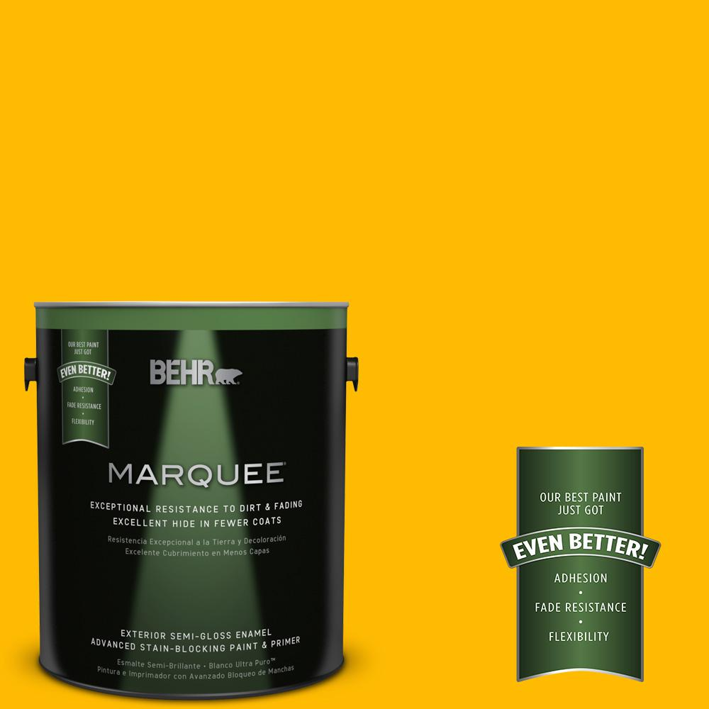 BEHR MARQUEE 1-gal. #340B-7 Empire Yellow Semi-Gloss Enamel Exterior Paint