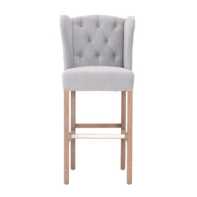 Madelyn 31.25 in. Fog Velvet Cushioned Bar Stool in Stone Wash