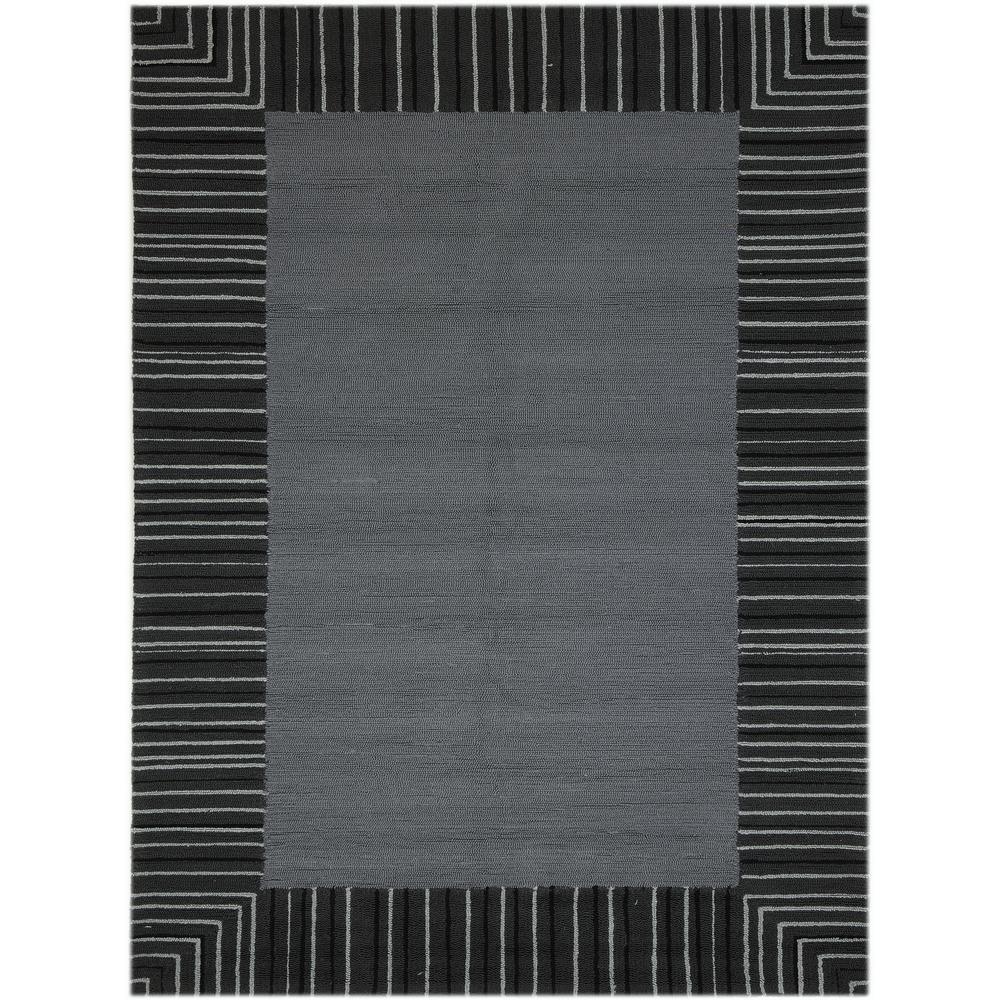 Pizazz Gray Striped Border 8 Ft X 11 Indoor Outdoor Area Rug