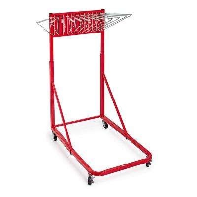 Blueprint Vertical File Steel Rolling Stand, Red