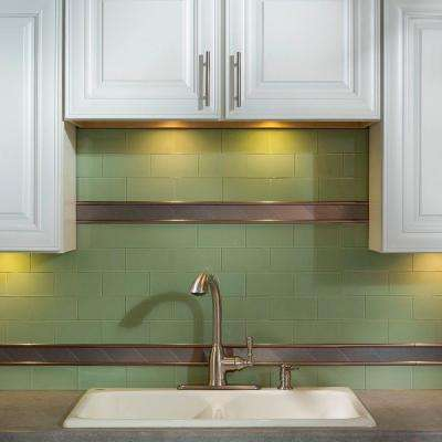 3 in. x 6 in. Glass Decorative Wall Tile in Fresh Sage (8-Pack)