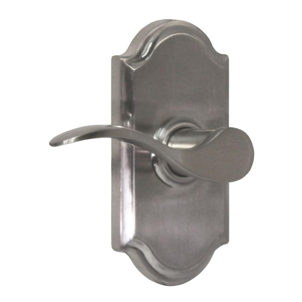 Elegance Satin Nickel Left-Hand Premiere Privacy Bed/Bath Bordeau Door Lever