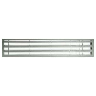 AG20 Series 4 in. x 24 in. Solid Aluminum Fixed Bar Supply/Return Air Vent Grille, Brushed Satin with Right Door