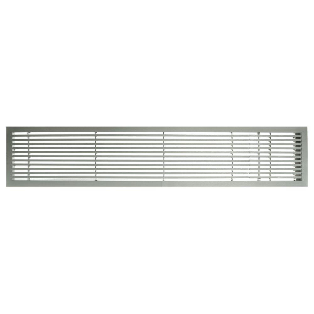 Architectural Grille AG20 Series 6 in. x 24 in. Solid Aluminum Fixed Bar Supply/Return Air Vent Grille, Brushed Satin with Right Door