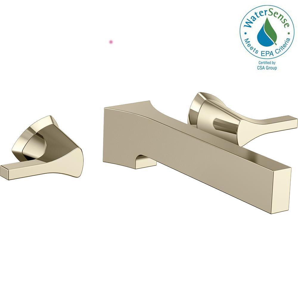 Zura 2-Handle Wall Mount Bathroom Faucet Trim Kit in Polished Nickel