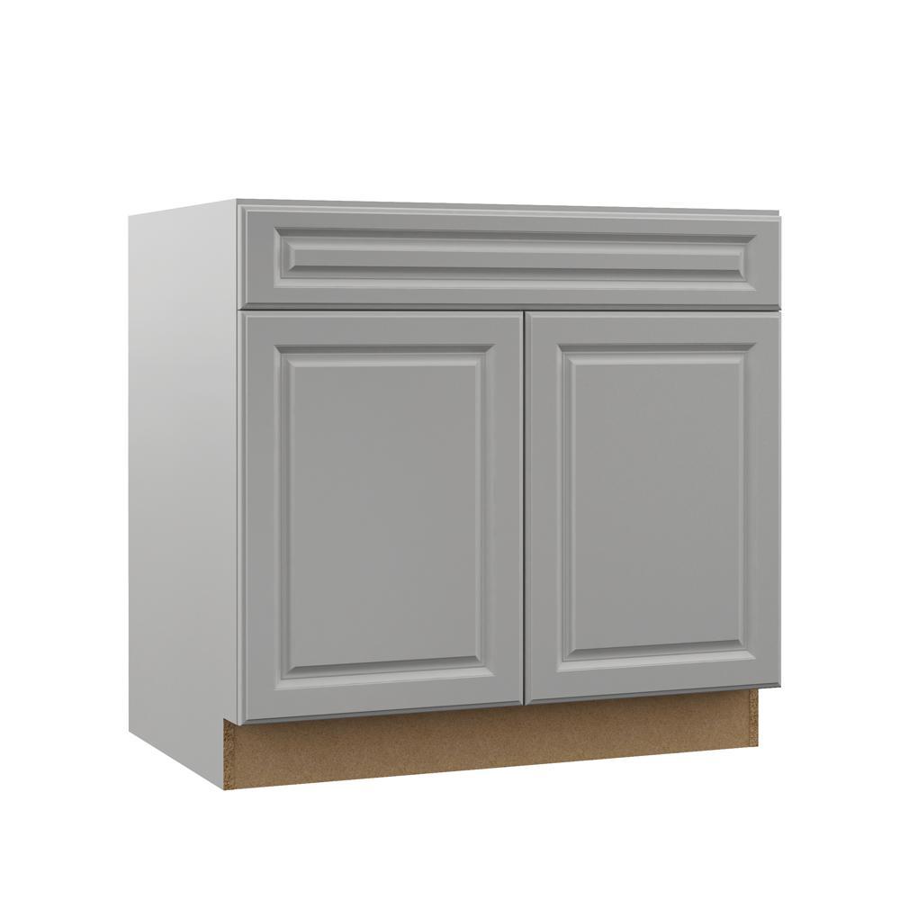 Hampton Bay Designer Series Elgin Assembled 36x34 5x23 75 in  Accessible  ADA Sink Base Kitchen Cabinet in Heron Gray