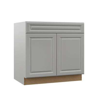 Elgin Assembled 36x34.5x23.75 in. Accessible ADA Sink Base Kitchen Cabinet in Heron Gray