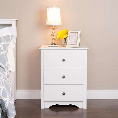 Monterey 3-Drawer White Nightstand