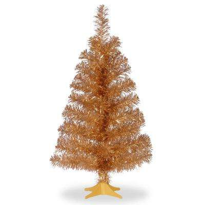 3 Ft Champagne Tinsel Artificial Christmas Tree