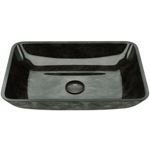Onyx Handmade Glass Rectangle Vessel Bathroom Sink in Gray Onyx