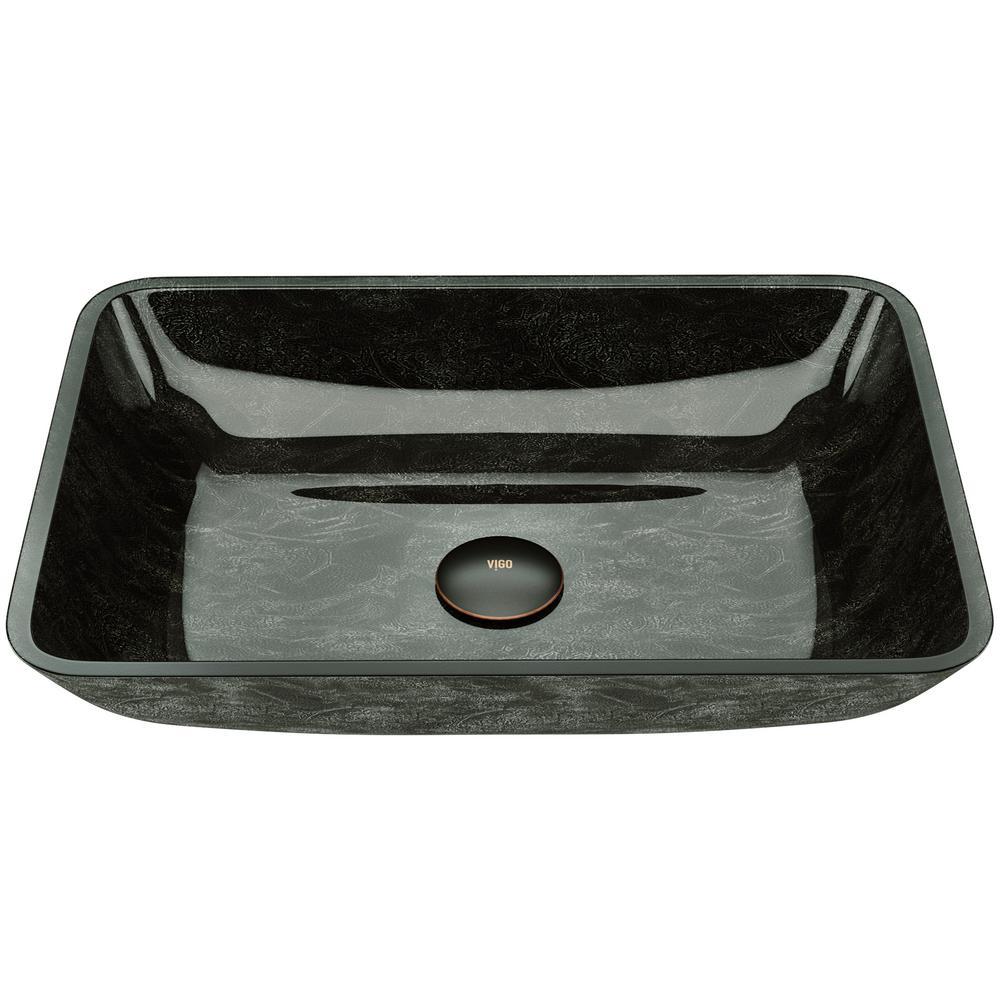 Glass Rectangular Vessel Bathroom Sink in Onyx Gray