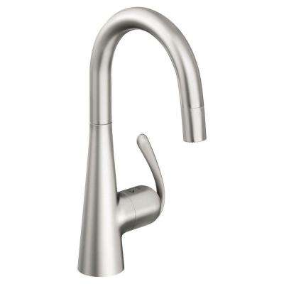 Ladylux 3 Pro Single-Handle Pull-Down Sprayer Kitchen Faucet in Stainless Steel
