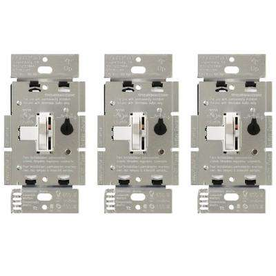 Toggler C.L Dimmer Switch for Dimmable LED, Halogen and Incandescent Bulbs, Single-Pole or 3-Way, White (3-Pack)