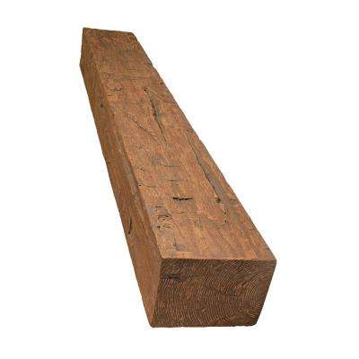 6 in. x 8 in. x 5 ft. Pecan Hand Hewn Faux Wood Beam Fireplace Mantel