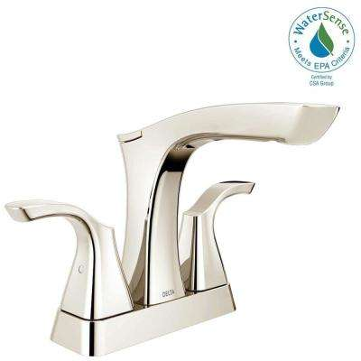 Tesla 4 in. Centerset 2-Handle Bathroom Faucet with Metal Drain Assembly in Polished Nickel