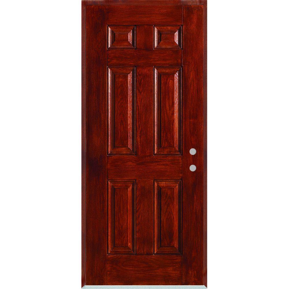 32 in. x 80 in. Left-Hand Infinity 6-Panel Stained Fiberglass Woodgrain Prehung Front Door with Brickmould