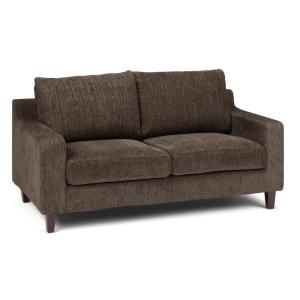Marisa Contemporary 65 in. Wide Sofa Loveseat in Deep Umber Brown Chenille Look Fabric