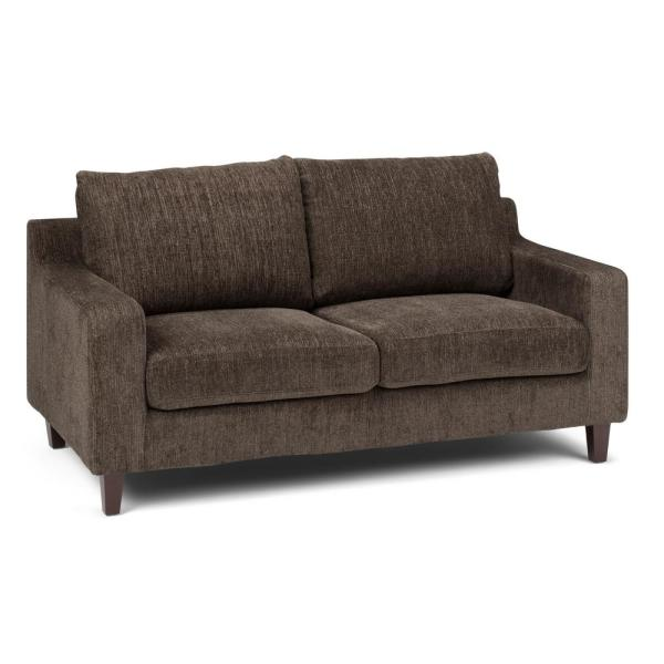 Simpli Home Marisa Contemporary 65 in. Wide Sofa Loveseat in Deep Umber Brown Chenille Look Fabric