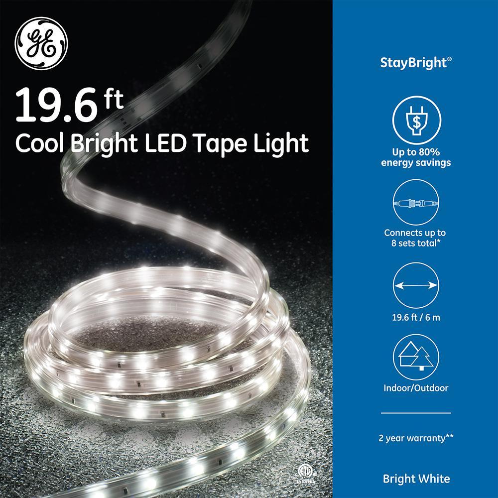 StayBright 19.6 ft. 240-Light LED Bright White Super Bright Tape Light